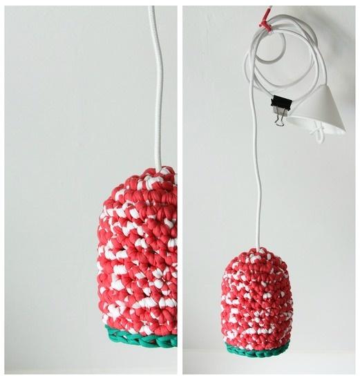 Gehaakte lamp -ONE- koraal wit - € 39,50