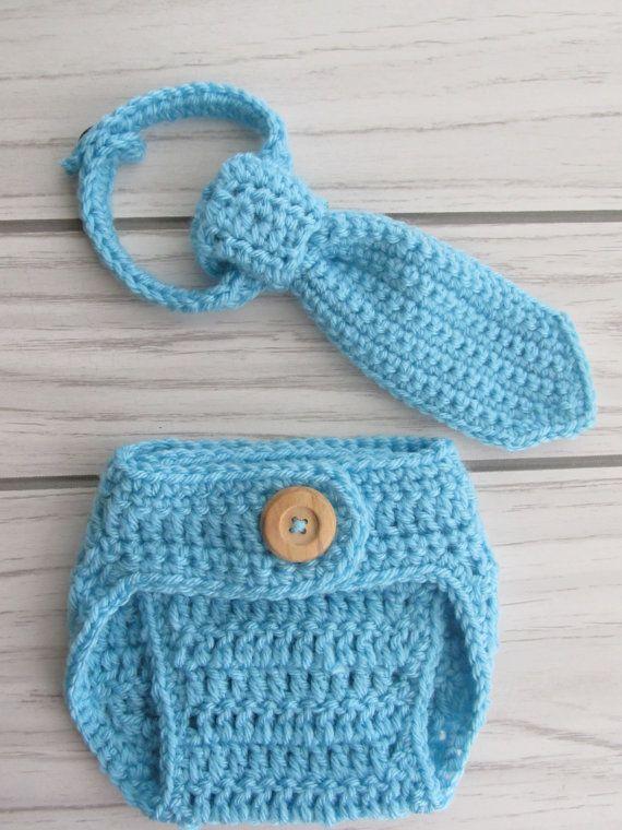 Crochet Diaper Cover and baby tie adjustablePhoto by crochetjandra, $18.90