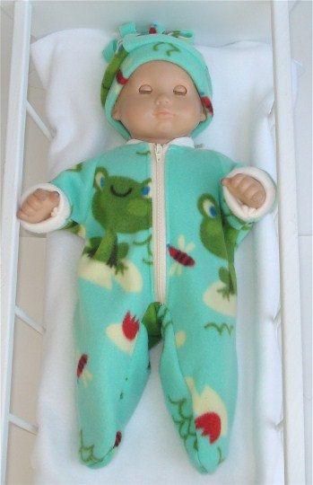 "American Girl 15"" Bitty Baby Doll Clothes Green Frog Polarfleece Pajamas pjs sleeper and hat (cap). $12.80, via Etsy."