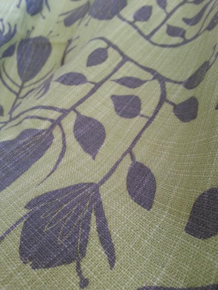Maradadhi Textiles Protea.  Eaudenill and Khaki onto white cotton