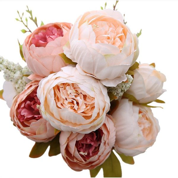 Decorative Artificial Flower Blush Silk Peony Flowers Bouquet 10... ($11) ❤ liked on Polyvore featuring home, home decor, floral decor, floral arrangements, home & living, home décor, silver, artificial flower centerpieces, silk flowers and faux flowers