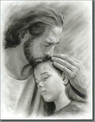 My child by lds artist david bowman he was my session director at efy and gave us each a copy of this picture it holds a very special place in my heart