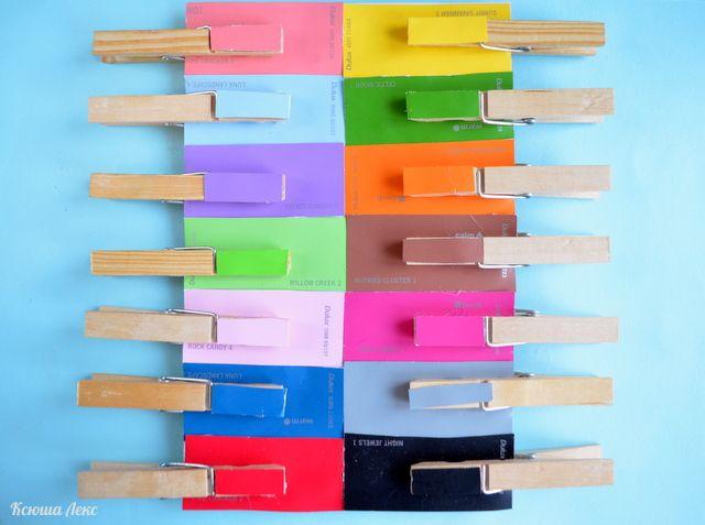 Игра с прищепками для изучения цветов из строительных карточек - Раннее развитие - Babyblog.ru