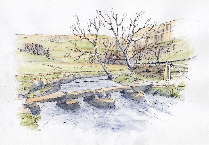 Malham Cove - sketch by John Edwards