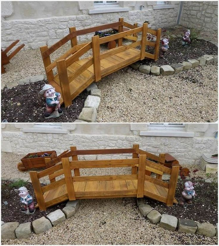 This is simply one of the beautiful pieces of the designing ideas for your garden locations. In this pallet project you will view the wooden pallet small size of bridge decoration piece that is designed in simple forms. You can beautify the surrounding areas of the bridge with the colorful flowers. Place it in your garden areas right now!