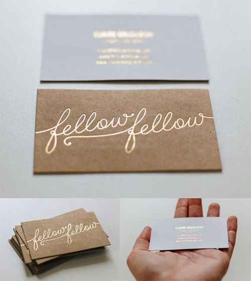 gold typography business card Maybe for pebble and twig