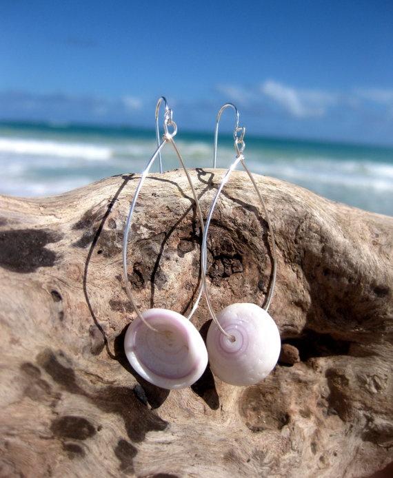 Hawaiian Purple and White Cone Snail Shell Top Puka Shell Silver Plated Teardrop Wire Hoop Earrings by LindseysBeachGlass, $36.00