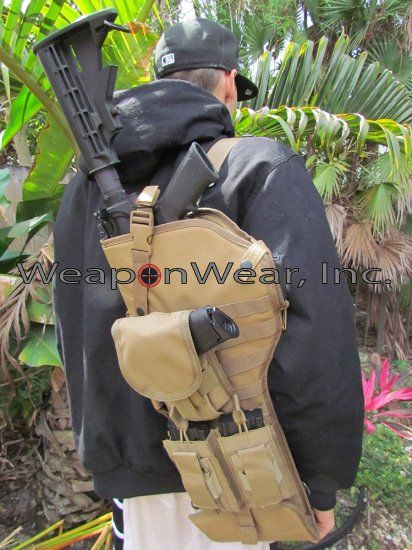 TAN Tactical Rifle Scabbard SLING for AR-15 Pistol & Mag Pouch