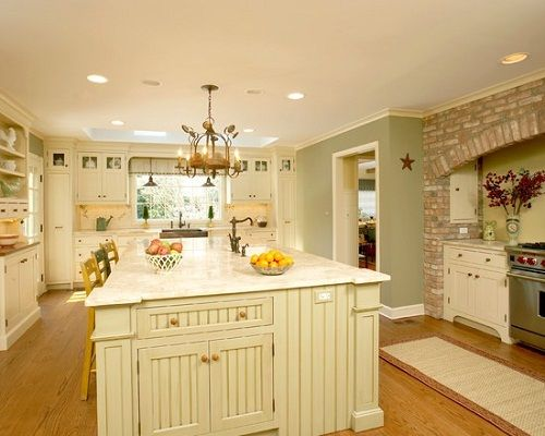 Traditional White Country Kitchen Painted Color Love All The Colors In This