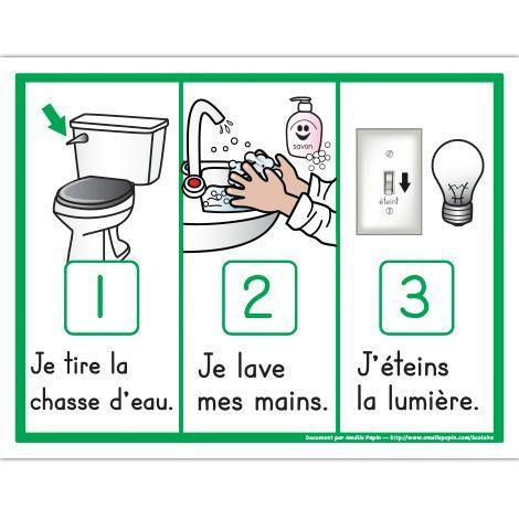 French Classroom Management. Voici 3 étapes illustrées de la routine de la toilette: Je tire la chasse d'eau, je lave mes mains et j'éteins la lumière.