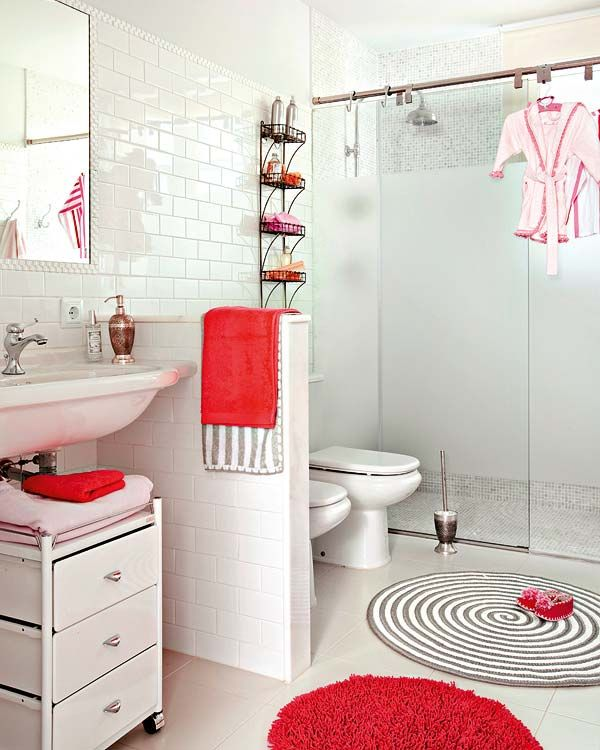 Best แบบหองนำและการตกแตงหองนำ Images On Pinterest Red - Red bathroom mats for bathroom decorating ideas