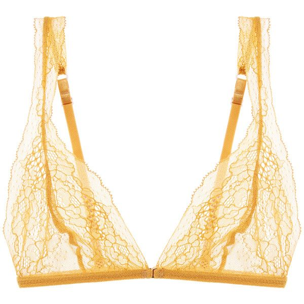 Eberjey Women's Michaela Bralette - Yellow - Size L ($29) ❤ liked on Polyvore featuring intimates, bras, yellow, eberjey, sheer lace bra, bralette bras, yellow bra and eberjey bras