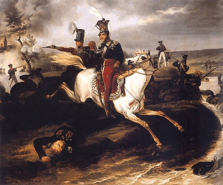 Death of Poniatowski. Painting by January Suchodolski.