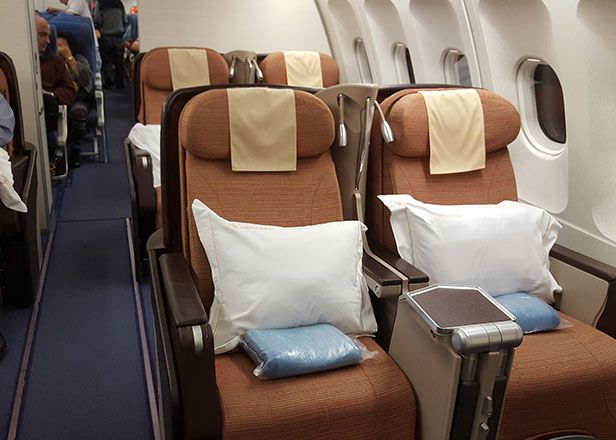 The Airbus A340's business class cabin has 6 rows of 2-2-2 configured recliner seats. These seats can be adjusted from the upright position in to the...(read more https://www.mangotours.com/blog/airline-review-philippine-airlines-flight-pr-123)