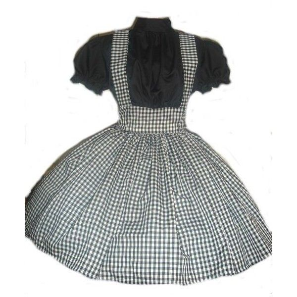 Gothic Dorothy Wizard of Oz Black Gingham Dress Halloween Costume... ❤ liked on Polyvore featuring costumes, goth costume, dorothy halloween costume, plus size halloween costumes, plus size gothic halloween costumes and plus size dorothy costume