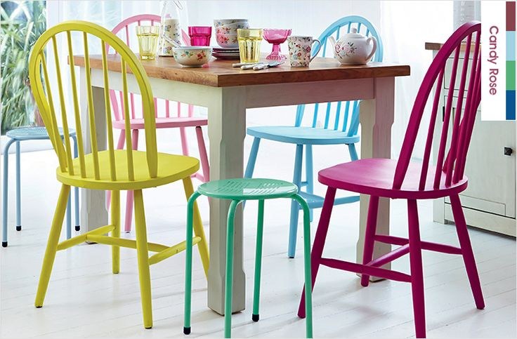 Dining room ideas | Dunelm - love the brightly painted chairs