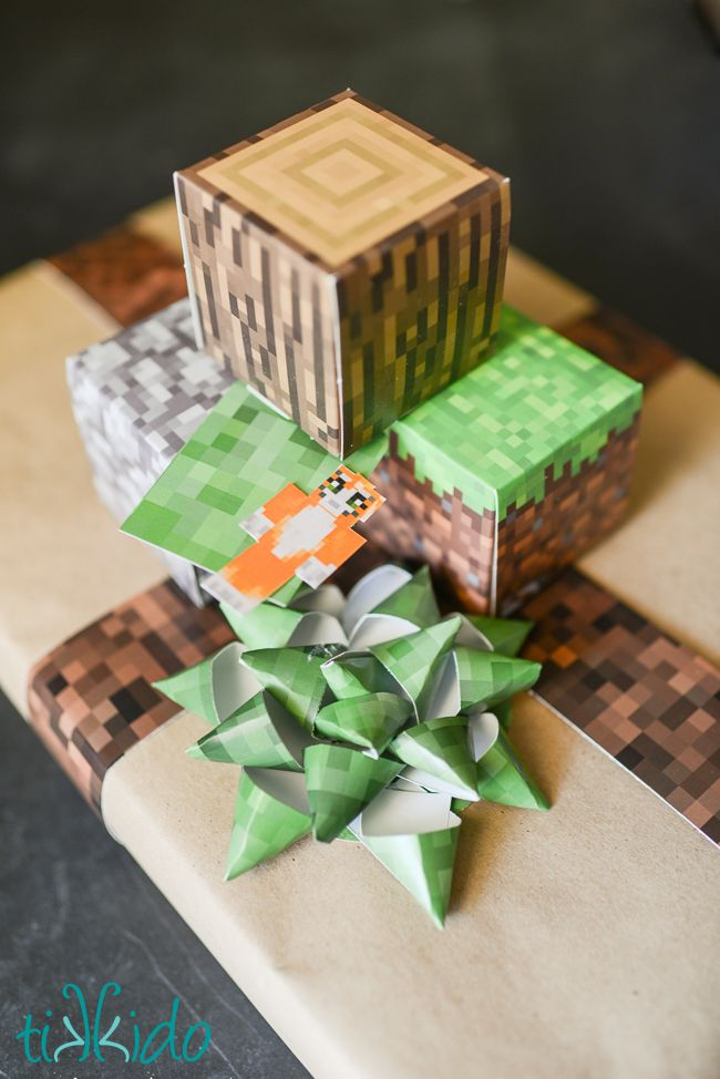 Tutorial for wrapping a present with Minecraft themed gift wrap.