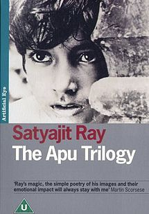 The Apu Trilogy is a trilogy consisting of three Bengali films directed by Satyajit Ray: Pather Panchali (Song of the Little Road), Aparajito (The Unvanquished) and Apur Sansar (The World of Apu). The films — completed 1955-1959 — were based on two Bengali novels written by Bibhutibhushan Bandopadhyay: Pather Panchali (1929) and Aparajito (1932). The original music for the trilogy was composed by Ravi Shankar.