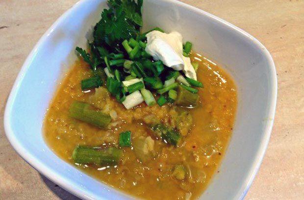 Постный чечевичный суп с сельдереем