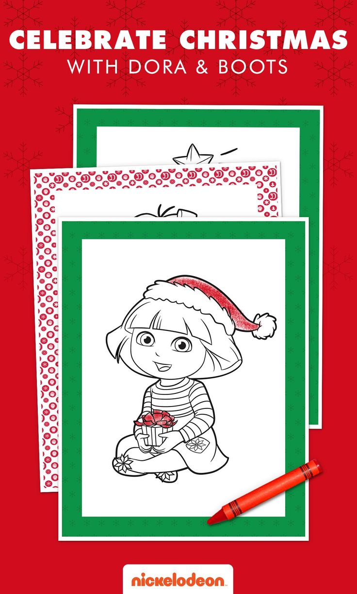 Dora Holiday Coloring Pack Christmas coloring pages