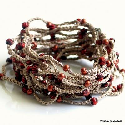 Nougat Silk Cuff with Firebrick Red Glass and Bone Beads