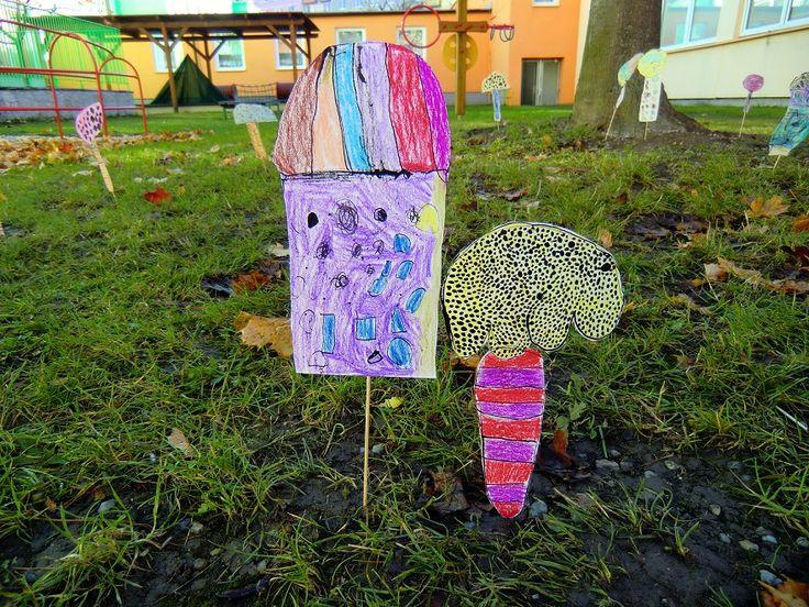 PŘED ŠKOLKOU ROSTOU HOUBY - vystižení znaků houby, fantaskní posun v barevném řešení (kresba tuší a dřívkem, voskovými pastely; instalace)