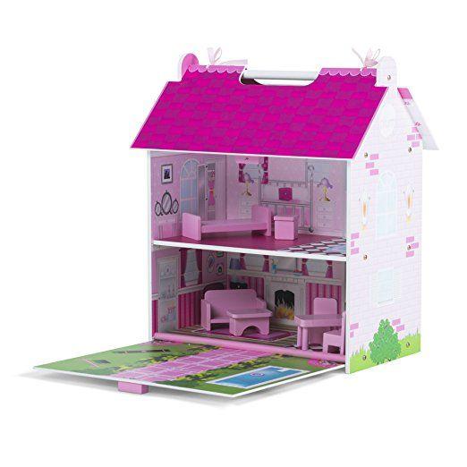Plum - Casa Delle Bambole Hove In Legno Con Accessori In Legno