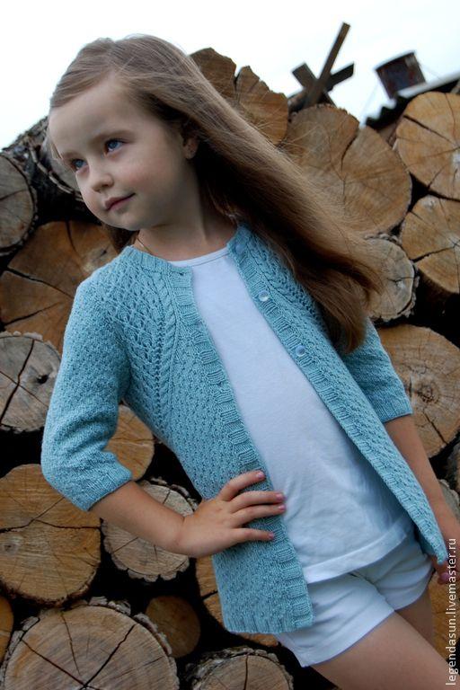 """Купить Кардиган """"Цветущий лен"""" Описание - голубой, кардиган, для девочки, спицами, авторская схема, хлопок"""