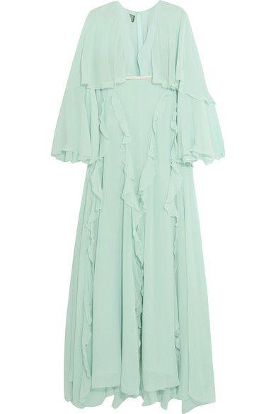 Giambattista Valli - Cape-back Ruffled Silk-georgette Gown - Mint - IT40