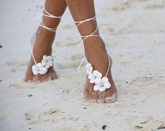 Frühlingsblumen Strand Hochzeit barfuß Sandalen, Armreif, Hochzeit Fußkette, nude Schuhe