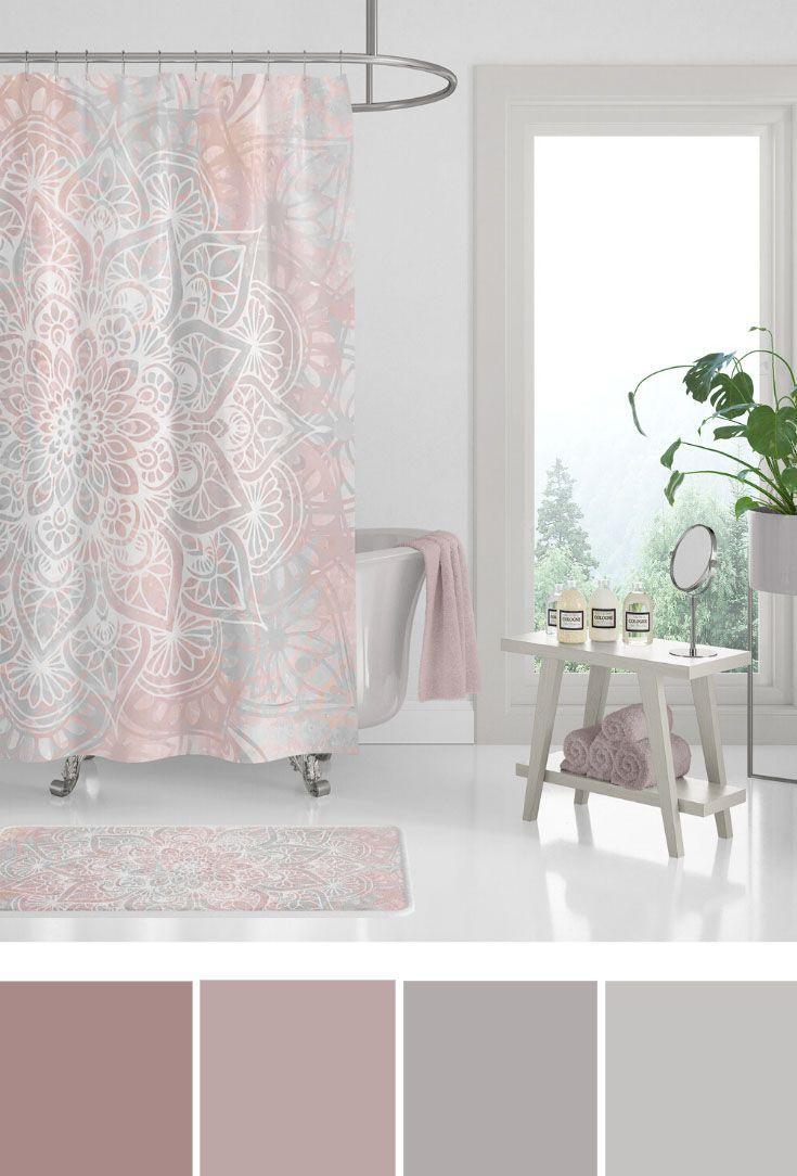 Home Decor Bathroom Colors Coral And Grey Bathroom Ideas Boho Mandala Shower Curtain Bathroom Colors Chic Bathroom Decor