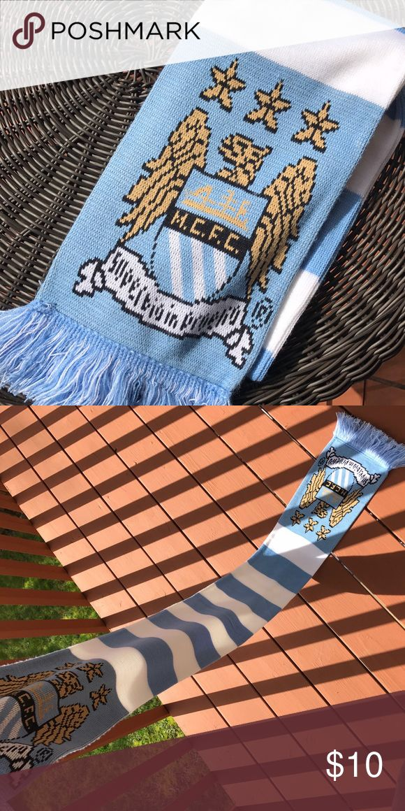 Manchester City Soccer Scarf Manchester City soccer bar scarf. No flaws, worn once. Perfect condition. Not nike but official Manchester city gear. Same design on both sides. Nike Accessories Scarves & Wraps