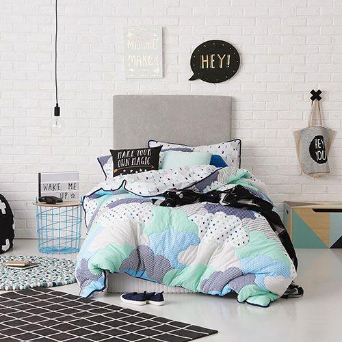 Cloud Blue Cot Quilt Cover Set