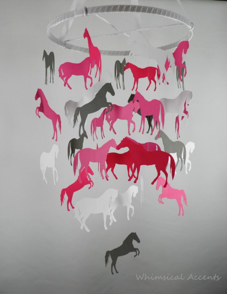 Horses Decorative Baby Mobile in Pinks and Gray - wonder if it comes in blue?