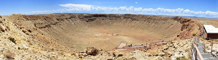 Barringer Crater:  Meteor Crater is a meteorite impact crater approximately 43 miles (69 km) east of Flagstaff, near Winslow in the northern Arizona desert of the United States. ****** I WOULD LIKE TO GO TO THAT PLACE.