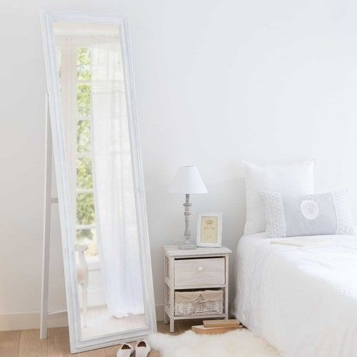 Miroir psyché en paulownia blanc vieilli H.170cm LYNA
