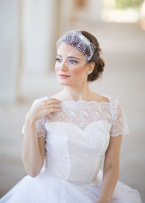 Mini Birdcage Veil With Pearls Small Bridal By JoyandFelicity