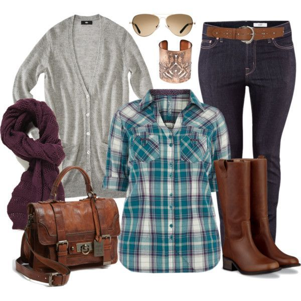 """""""Plaid Casual - Plus Size"""" by alexawebb on Polyvore"""