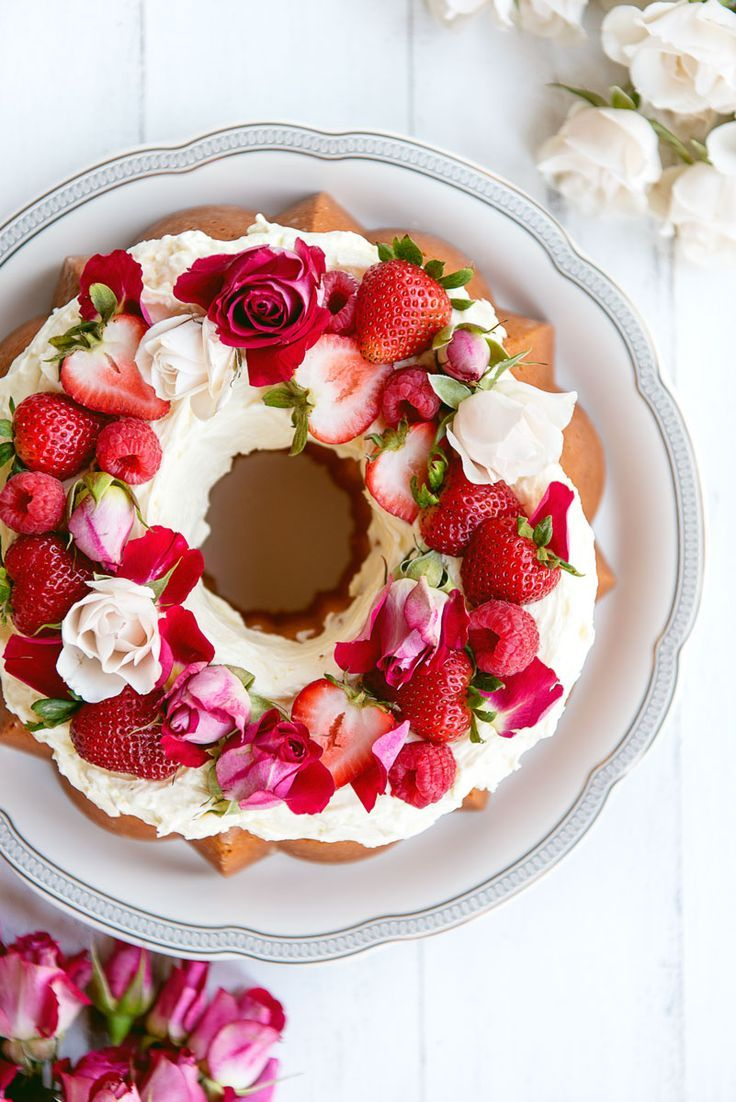 Vanilla Bundt Cake With Rosewater Buttercream Frosting Flowers