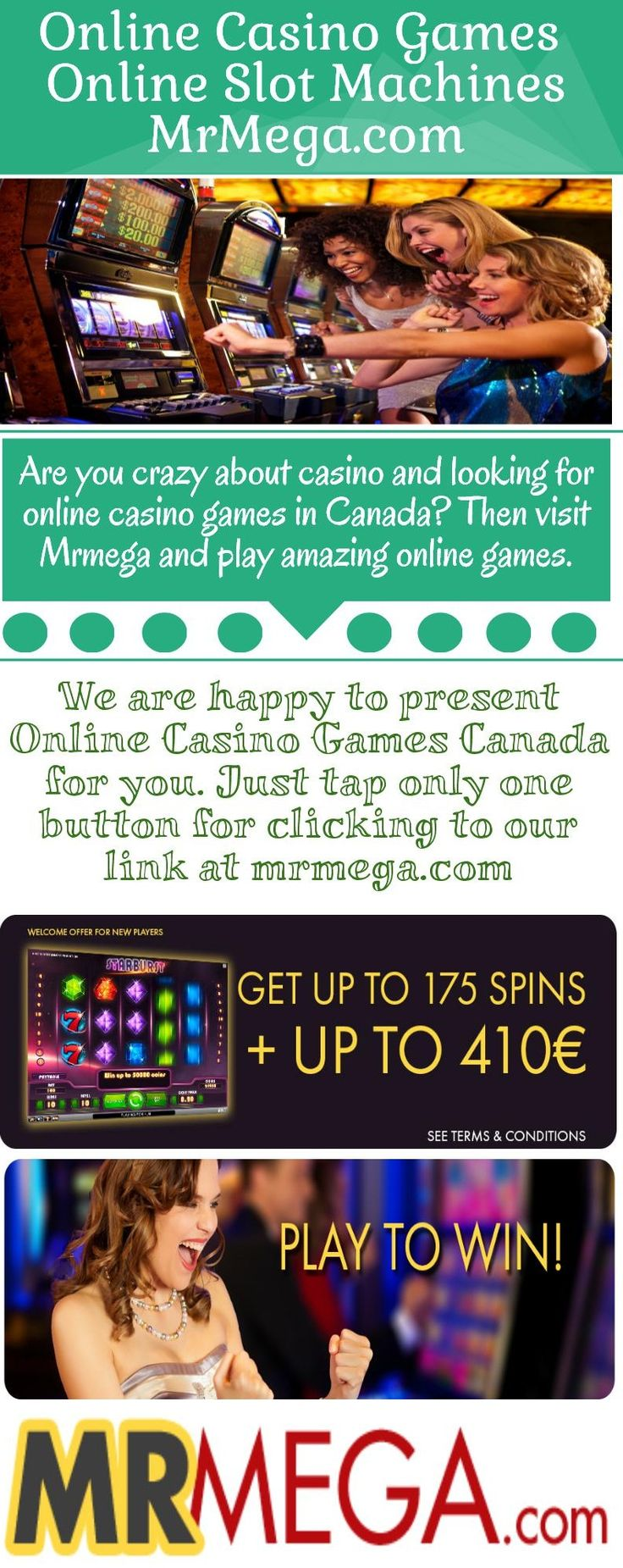 We are giving a chance for playing Online Casino games in Canada; don't get late for playing online games just visit at mrmega.com and play amazing games. https://www.mrmega.com/Online-Casino-Canada