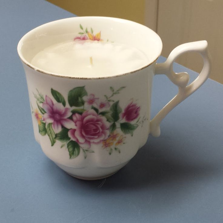 Orchid Scented Candle in a Vintage Bone China Coffee Cup #kjcreations #diy #crafts #homedecor #shabbychic #farmhousechic #vintage #upcycled #bonechina #coffeecup #candle
