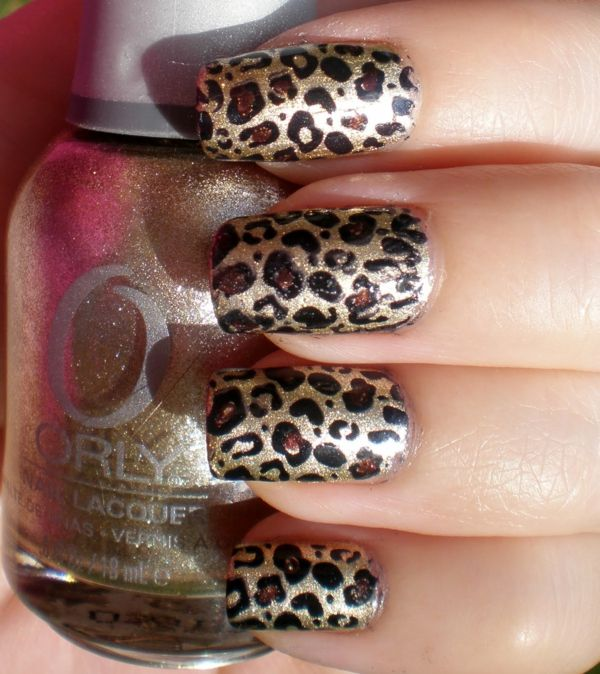 nageldesign muster leoparden abdruck