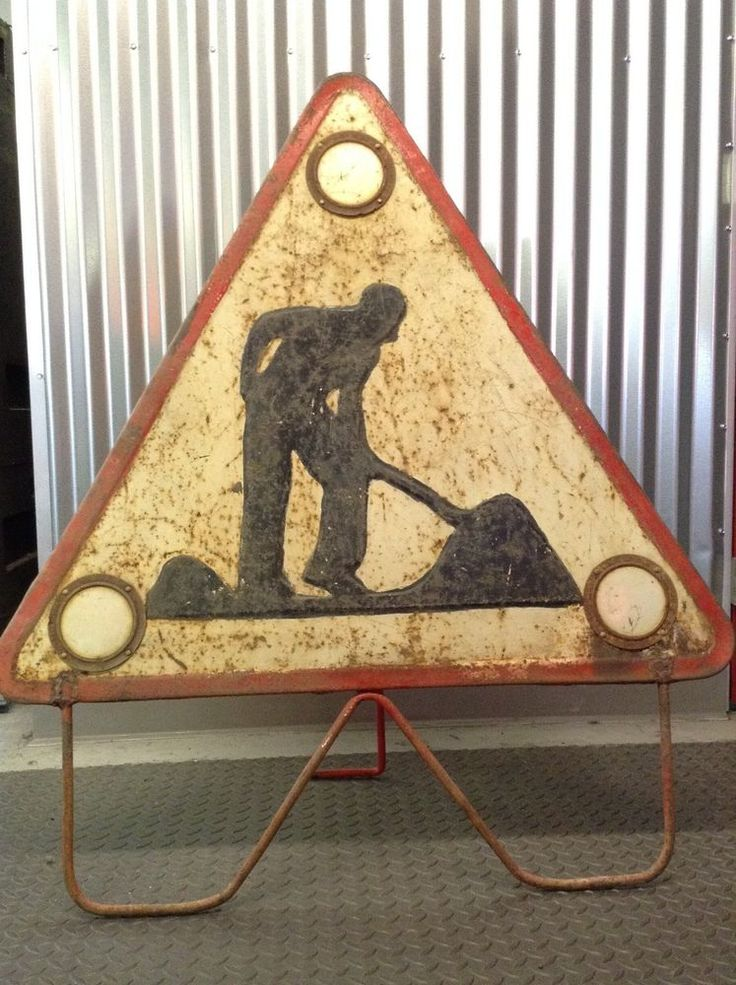 1920-1930's Metal Embossed  Men at Work Triangle Sign