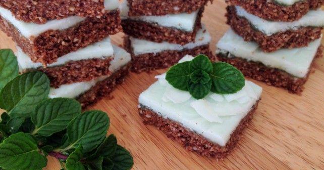 Choc-mint coconut slice. Raw, vegan friendly, sugar and gluten free.