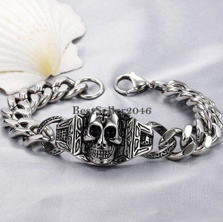 Herren Edelstahl Armband Totenkopf Kreuz Partnerarmband Panzerarmband Armkette
