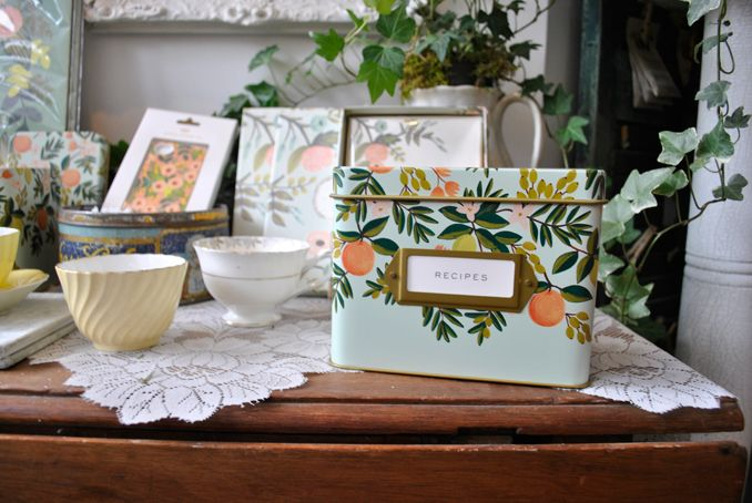 Rifle paper co. recipe tin from Coriander Girl on Queen West