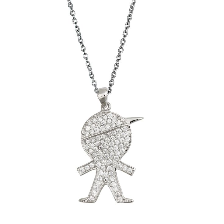 Decadence Sterling Silver Micropave Litle Boy Pendant with Cubic Zirconia