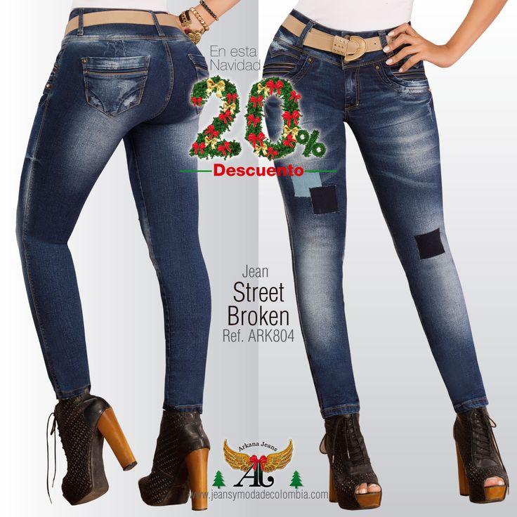 Street Broken REF: ARK 804 $91.950 Antes $114.900  Jean de tiro Alto, levanta cola, diseño en tela piel de durazno. Ideal si eres de caracter fuerte y decidida