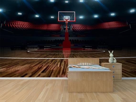 Basketball Court Photo Wallpaper Removable Wall Wallpaper Etsy Wall Murals Basketball Court Wall Wallpaper