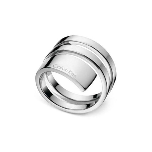 Calvin Klein beyond Silver-Tone Stainless Steel Wrap Ring KJ3UMR000106 ($90) ❤ liked on Polyvore featuring jewelry, rings, silver, calvin klein, wrap jewelry, stainless steel rings, stainless steel jewelry and silver tone jewelry